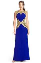 Women's Tadashi Shoji Embroidered Crepe Gown Gold Mystic Blue