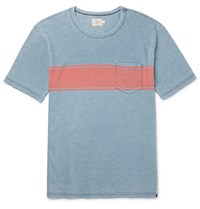 Faherty Slim Fit Striped Cotton T Shirt Blue