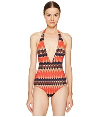 Paul Smith No 9 Print Halter Swimsuit Coral Women's Swimsuits One Piece