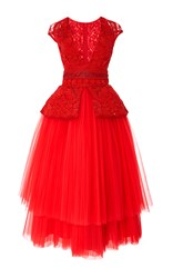 Naeem Khan Tea Length Cocktail Dress Red