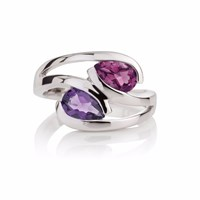 Manja Amethyst And Rhodolite Love Birds Ring Silver Pink Purple