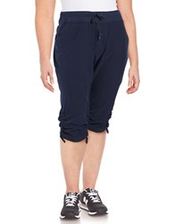 Marc New York Cropped Ruched Performance Pants Deep Blue