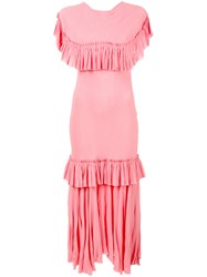 Marni Crinkled Tiered Ruffled Dress Pink Purple