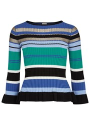 Pinko Striped Stretch Knit Jumper Blue