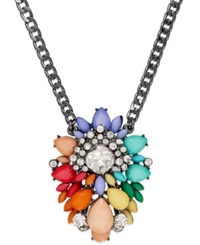 Bar Iii Hematite Tone Colorful Stone And Crystal Pendant Necklace