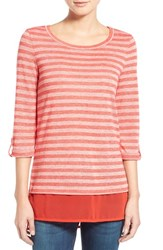 Women's Caslon Layer Look Stripe Roll Sleeve Tunic Red Stripe