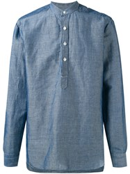 Barba Mandarin Neck Shirt Men Cotton Linen Flax 38 Blue