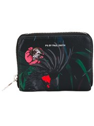Paul Smith Ps By Parrot Print Zip Around Wallet Women Calf Leather One Size Black