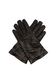 Gucci Palmistry Embroidered Leather Gloves Black