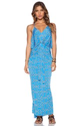 T Bags Losangeles Tie Front Maxi Dress Blue