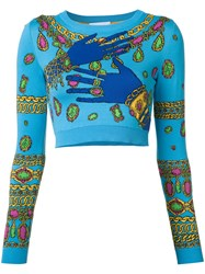 Moschino Hands And Jewels Cropped Jumper Blue