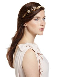 Jennifer Behr Crystal Flower And Golden Leaf Headband Crystal Gold