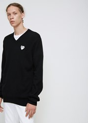 Comme Des Garcons Play 'S White Heart V Neck Pullover In Black Size Small 100 Wool