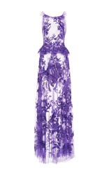 Zuhair Murad Embroidered Flared Tulle Gown Purple