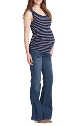 Lilac Clothing Women's Ruched Maternity Tank Navy Ivory Rib