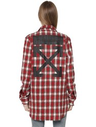 Off White Check Wool And Cotton Flannel Long Shirt