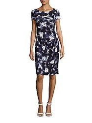 Lafayette 148 New York Printed Boatneck Short Sleeve Dress Delft Multicolor