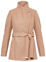 Ted Baker Short Wrap Collar Coat Camel