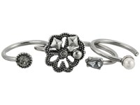 Marc Jacobs Daisy Midi Ring Set Crystal Antique Silver Ring