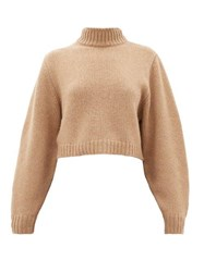 The Row Tabeth Cropped Cashmere Sweater Light Brown