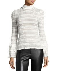 Cinq A Sept Everly Lace High Neck Long Sleeve Top Ivory White