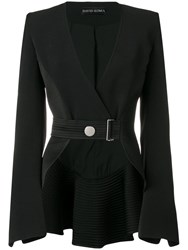 David Koma Belted Cropped Jacket Black