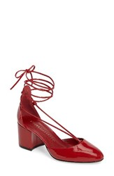 Athena Alexander Women's Caprice Strappy D'orsay Pump Red Faux Patent