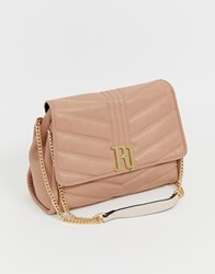 River Island Quilted Shoulder Bag With Gold Detail In Beige