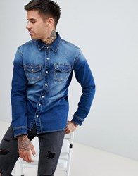 Good For Nothing Muscle Denim Shirt Blue
