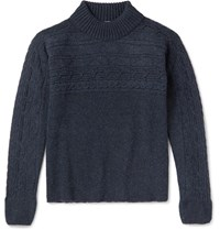 Eidos Cable Knit Wool Mock Neck Sweater Navy