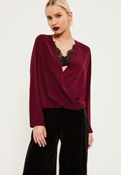 Missguided Burgundy Lace Wrap Blouse