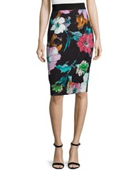 Milly Paper Floral Print Midi Skirt Black