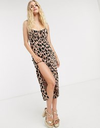 Motel Cami Maxi Dress With Thigh Split In Smudge Spot Print Stone