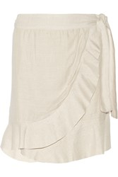 Etoile Isabel Marant Silvia Wrap Effect Silk Skirt White