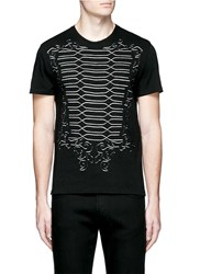 Alexander Mcqueen Military Braid Cutout Organic Cotton T Shirt Black