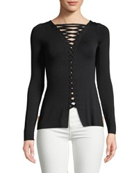Bailey 44 Kabuki Lace Up Fitted Top Black