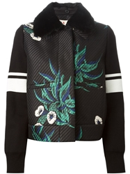 Marni Mink Fur Collar Jacquard Jacket Black
