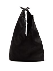 The Row Bindle Linen Shoulder Bag Black