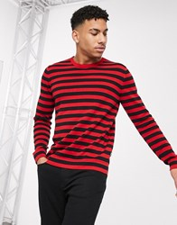 Only And Sons 100 Cotton Knitted Stripe Jumper Red