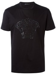 Versace Embroidered Sequin T Shirt Black