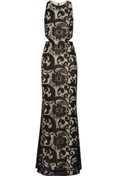 Alice Olivia Adel Cutout Lace Gown Black