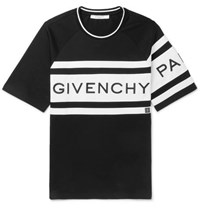 Givenchy Slim Fit Logo Embroidered Striped Cotton Jersey T Shirt Black