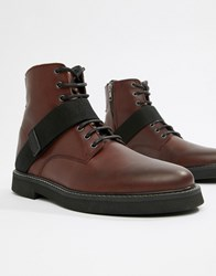Asos Design Lace Up Boots In Burgundy Leather With Chunky Sole And Strap Detail Red