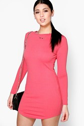 Boohoo Boat Neck Rib Curved Hem Bodycon Dress Coral