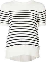 Sacai Striped Cupro Insert Knitted Top White