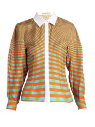 Mary Katrantzou Hecate Spiralite Print Silk Twill Shirt Orange Print