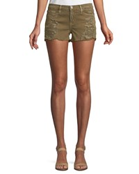 Etienne Marcel Distressed Denim Shorts Green