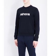Sandro Dream Cotton Sweatshirt Navy Blue
