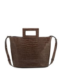 French Connection Corey Crocodile Embossed Tote Bag Brown