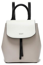 Dkny Woman Logo Embellished Color Block Leather Backpack Stone
